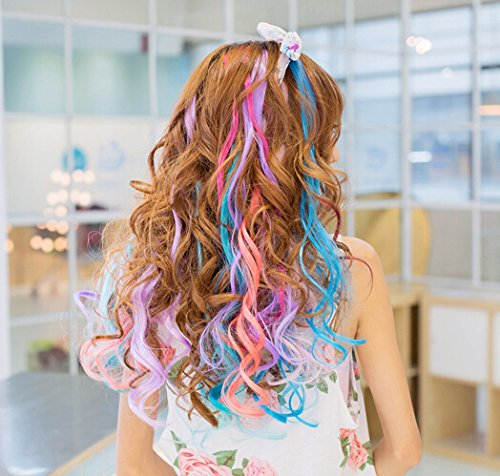 SWACC 22 Pcs Colored Party Highlights Clip on in Hair Extensions Multi-Colors Hair Streak Synthetic Hairpieces (11 Colors 22 Pcs in Set -Curly Wavy) by SWACC (Image #6)
