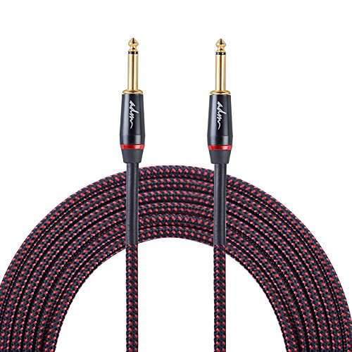 ADM 10FT 3M Straight to Straight Noiseless Musical Instruments Electric Guitar & Bass Cable, Studio Quality Guitars & Bass Amp Cord, Red/Black Tweed Woven Jacket