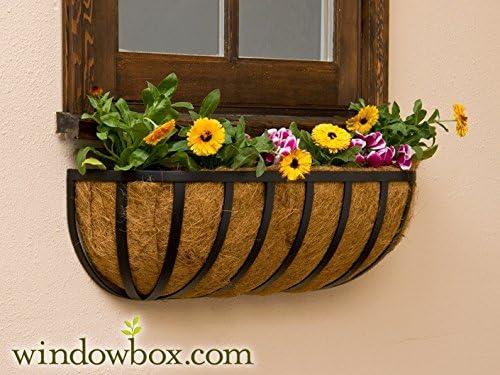 XL English Garden Hay Rack Window Basket w Coco Liner – 48 Inch