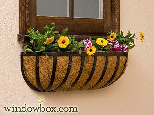 XL English Garden Hay Rack Window Basket w/ Coco Liner - 48 Inch by Windowbox