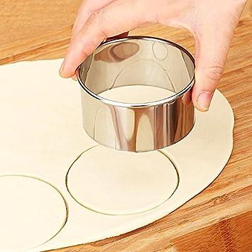 SANGEMAMA - Juego de 3 moldes redondos de acero inoxidable para cortar galletas y pasteles, herramienta de corte de masa: Amazon.es: Hogar