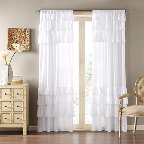 Madison Park White Curtains For Living room, Cottage Country Rod Pocket Ruffle Curtains For Bedroom, Solid Anna Voile Window Curtains, 50X84, 1-Panel ()