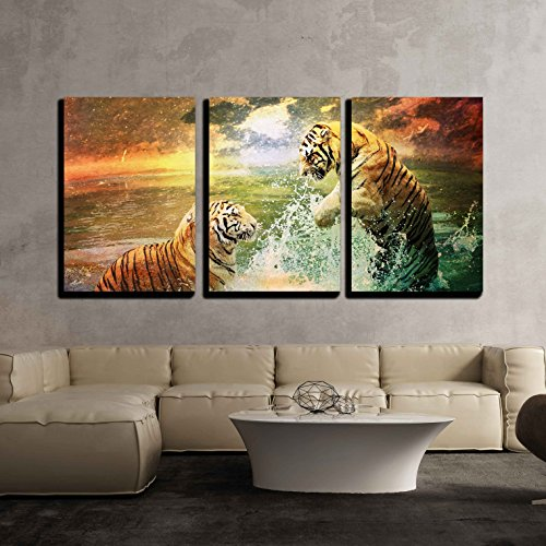 - wall26 - 3 Piece Canvas Wall Art - Tiger and Tigress Playing in The Sea - Modern Home Decor Stretched and Framed Ready to Hang - 24
