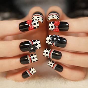 Amazon Fattycat Fashion 3d Nail Art Red Ribbon 24 Nails Sold