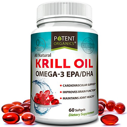 Premium Krill Oil 1000 mg – 60 Softgels - No Fishy Aftertaste - Promotes Joint, Cardiovascular & Brain Health - Nutritional Supplement - Reduces Inflammation & Cholesterol – Made in USA – GMO Free