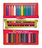 Melissa and Doug Triangular Crayons - 24-Pack in Flip-Top Case, Non-Roll