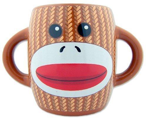 Gift Monkey Unique (Unique Collectors Gift Sock Monkey Design Brown Ceramic Hot Cold Drink Beverage Mug Cup Drinkware)