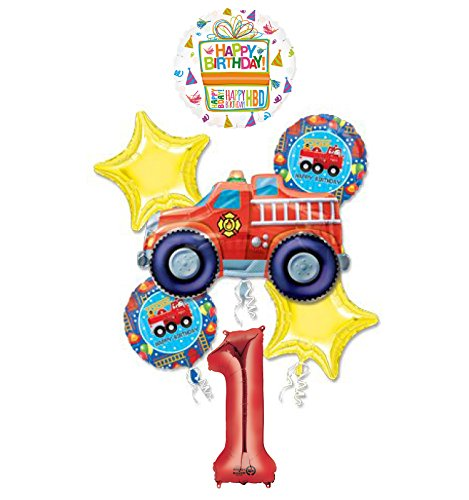 Fire Truck Fire Engine 1st Birthday Party Supplies and Balloon Decorations