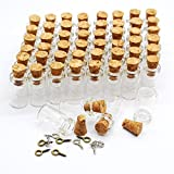 Eforstore 50pcs 0.5ml Vials Clear Glass Bottles with Corks & 10pcs Eye Screws Miniature Glass Bottle with Cork Empty Sample Jars Small 18x10mm