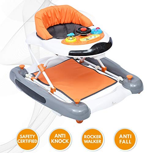 R for Rabbit Ringa Ringa Baby Walker - The Anti Fall and Safe Rocking Baby Walker with Toy Bar (Orange White)