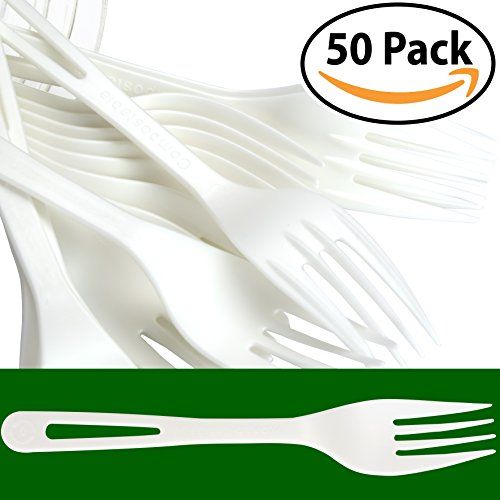 Eco Friendly Utensils - Biodegradable Forks Made From Non-GMO Plant-Based Plastic 50 Pack. Sturdy Utensils are Certified Compostable, Disposable, Eco-Friendly Cutlery With No Wood Taste. Safe for Hot and Cold Foods!