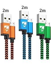 Cable Micro USB Carga Rápida Aioneus Cargador Android 3-Pack 2M Cable Android Nylon Movil Cables Cargador para Samsung S7 S6 S5 j7 j5 j3 Tablet Huawei Sony HTC Motorola Nexus LG PS4