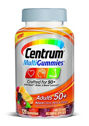 Centrum MultiGummies Adults (120 Count, Natural Cherry, Berry, Orange Flavor) Multivitamin/Multimineral Supplement Gummies, Vitamins B12, D, E, Age 50+