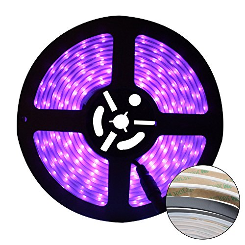 CREATESTAR LED UV Black Light Strip, Flexible 16.4Ft/5M 2835 SMD 300LEDs Waterproof IP65 60 Watts LED Light Strip with DC12V 3A Power Supply