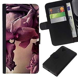 KLONGSHOP // Tirón de la caja Cartera de cuero con ranuras para tarjetas - Arte Bloom Flor de primer plano - LG Nexus 5 D820 D821 //