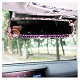 LuckySHD Car Rear View Mirror with Crystal Diamond Butterfly - Purple