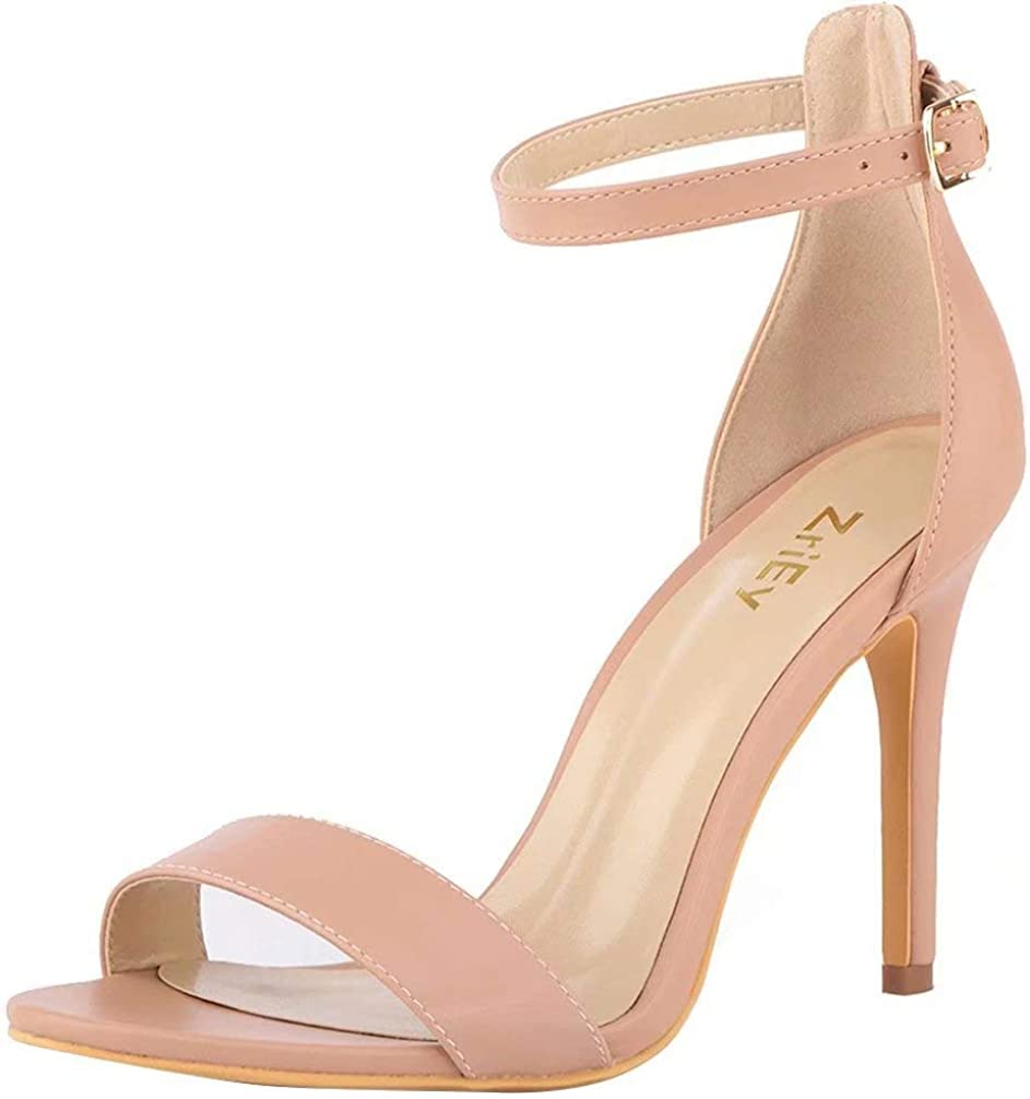 ZriEy Women's Heeled Sandals 4 Inches Open Toe Stiletto High Heels Ankle Strap Fashion Bridal Party Wedding Pump Shoes