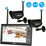 KKmoon Wireless 2.4GHz 7 TFT Digital LCD Display Monitor 2 Channel Quad DVR + 2 IR Night Vision Waterproof Camera Support AV Output Voice Monitoring Motion Detection Recording TF Card