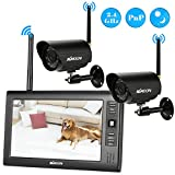 KKmoon Wireless 2.4GHz 7'' TFT Digital LCD Display Monitor 2 Channel Quad DVR + 2 IR Night Vision Waterproof Camera Support AV Output Voice Monitoring Motion Detection Recording TF Card