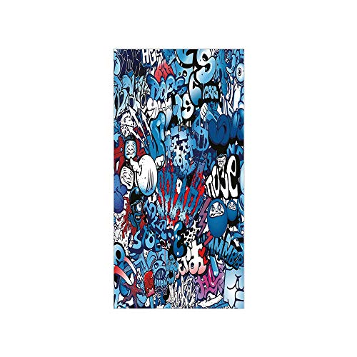 Ylljy00 Decorative Privacy Window Film/Teenager Style Image Wall Street Graffiti Graphic Colorful Design Artwork/No-Glue Self Static Cling for Home Bedroom Bathroom Kitchen Office Decor Multicolor ()