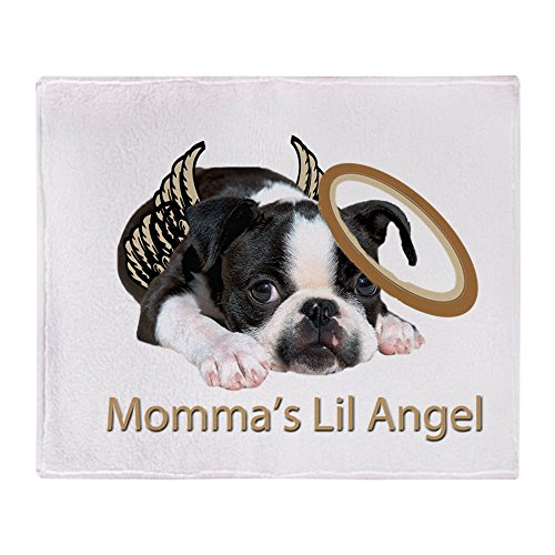 CafePress Mommas Lil Angel Boston Terrier Soft Fleece Throw Blanket, 50