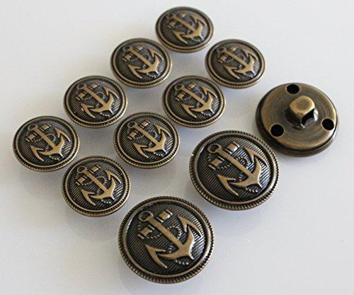 YCEE 11 Piece Vintage Antique Brass (Bronze) Metal Blazer Button Set - Naval Anchor - For Blazer, Sport Coat, Uniform, (Bronze Anchor Set)