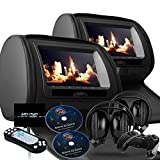 Black Dual Digital 7″ Headrest Dvd Players Monitors USB SD With Zipper Covers & Wireless Headphones Review