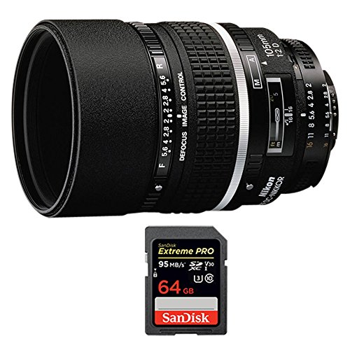 Nikon NIKKOR 105mm F/2.0D DC AF Lens (1932) with Sandisk Extreme PRO SDXC 64GB UHS-1 Memory Card by Beach Camera