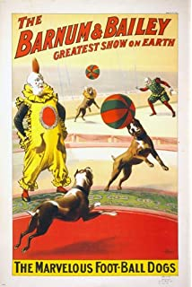 BARNUM BAILEY The Marvelous Football Dogs VINTAGE CIRCUS POSTER 24x36 Rare