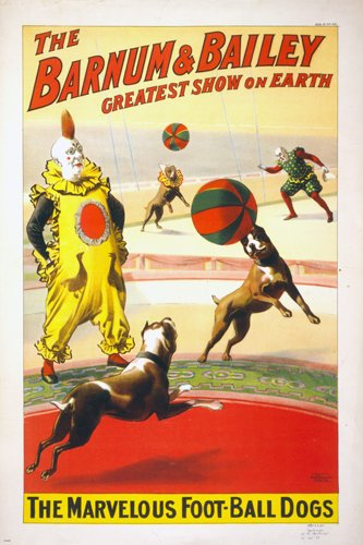 BARNUM & BAILEY The Marvelous Football Dogs VINTAGE CIRCUS POSTER 24x36 Rare