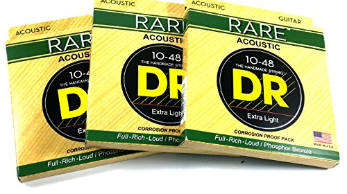 - DR Guitar Strings 3 Pack Acoustic RARE Phosphor Bronze Hex Cores RPL-10 10-48