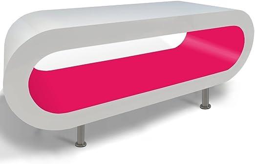 Zespoke Design Café Aro Blanco y Rosa Retro Soporte de Mesa/TV en ...