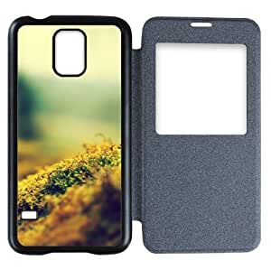 Galaxy S5 Case,Popular Convenient Answer Incoming Calls View Time Table Talk Caller Id Window Moss Pattern Flip Case Cover
