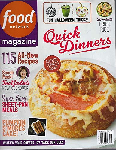 Food Network Magazine - October 2018 - 115 All New Recipes - Super Easy Sheet Pan Meals - Quick Dinners - 20 Minute Fried Rice - Fun Halloween Tricks for $<!--$4.00-->