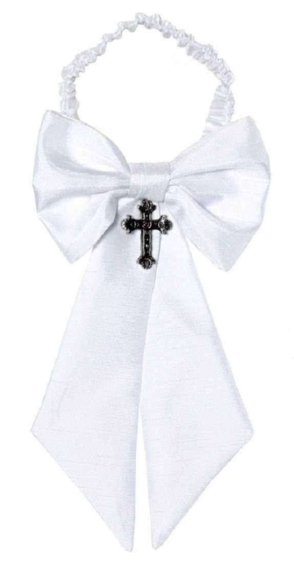 Boys Communion Armband White Shantung Sateen with Cross Charm (Boys, Silver)