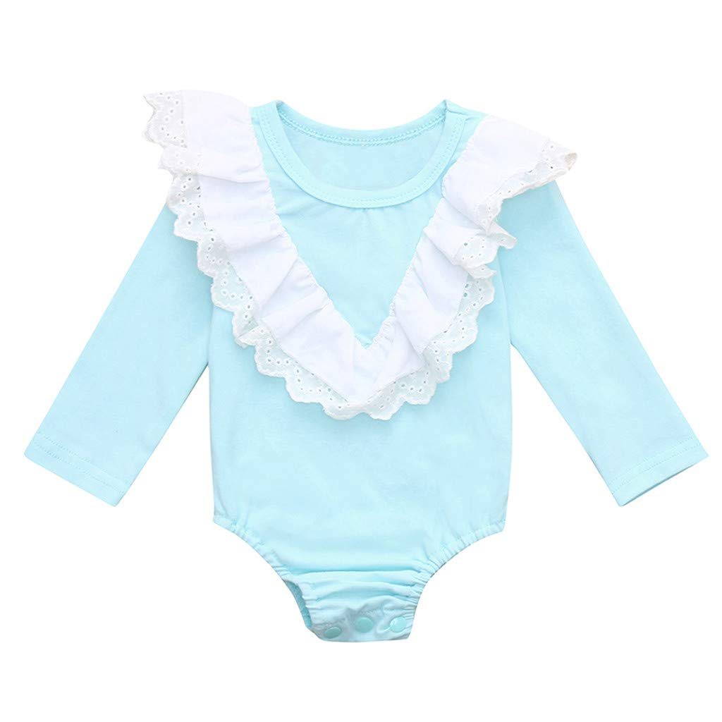 Adagod Lace Newborn Infant Baby Girl Long Sleeve Lace Ruffled Romper Bodysuit Clothes