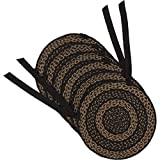 VHC Brands Classic Country Primitive Tabletop & Kitchen - Farmhouse Jute Black Chair Pad Set of 6