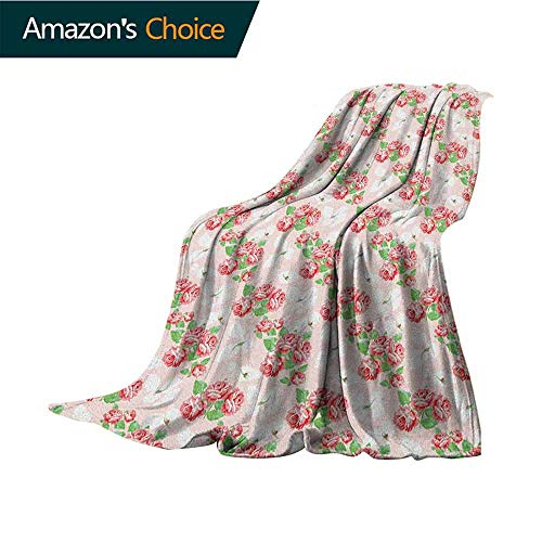 """Shabby Chic Beach Blanket,Diagonal Rose Bouquets Pattern with Classical Pastel Color Fantasy Soulful Buds Super Soft Light Weight Cozy Warm Plush,60"""" Wx80 L Multicolor"""