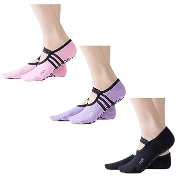 Z-Chen Pack de 3 Pares Calcetines Antideslizantes para Yoga Pilates Mujer