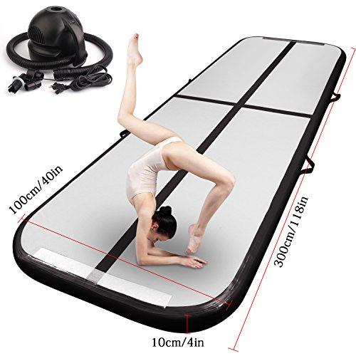 FBSPORT 10ft/13ft/16ft/20ft/23ft/26ft Inflatable Gymnastics Airtrack Tumbling Mat Air Track Floor Mats with Electric Air Pump for Home Use/Training/Cheerleading/Beach/Park and Water (Black, 9.84)