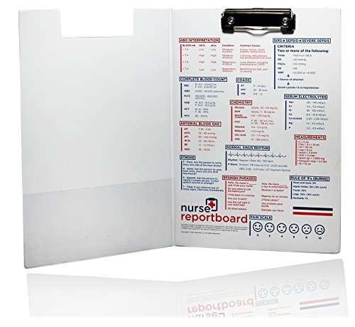 Nurse Report Board - Slim & Professional Nursing Clipboard with Adult Reference Information. Ideal for Nurses and Students. RN, LPN,
