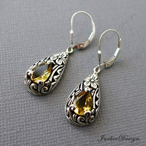 Tear Drop Yellow Citrine Earrings Bali Sterling Silver JD152