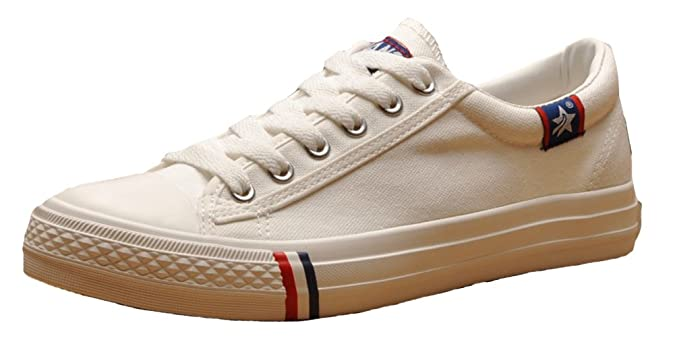 Amazon.com | HW-GOODS Mens Classic Lace up Canvas Sneakers Low Top Fashion Shoes | Fashion Sneakers