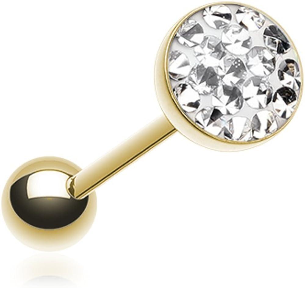 Golden Multi-Sprinkle Dot Multi Gem WildKlass Barbell Tongue Ring