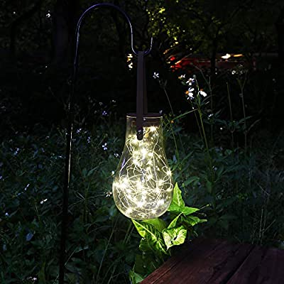 Solar Lantern Outdoor Hanging lights, Glass Bulb Solar Lights with 40 Warm White Led for Garden, Patio, Yard