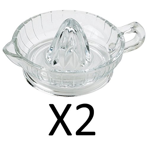 HIC Citrus Juicer Reamer with Handle and Pour Spout, Heavyweight Glass, 6.5-Inches x 3-Inches Set of 2