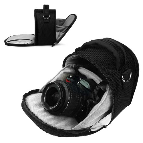 Vangoddy JET BLACK Small DSLR & SLR Camera Luxury Bag For Canon SLR Entry Level & Professional Cameras (EOS Rebel T3, T3i, T2i, T1i, XS, EOS 60D, 7D, 5D Mark III , 5D Mark II Full Frame CMOS)