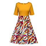 Women Vintage Dresses With Sleeves,Lelili Vintage Floral Printed Patchwork Half Sleeve Crewneck Swing A-Line Dress (XL, Yellow)