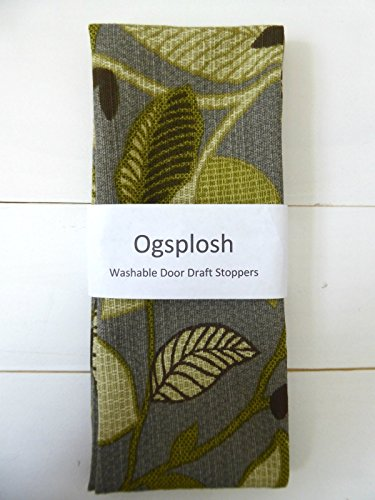Door Draft Stopper, Grey and Green Leafy Print. A66159