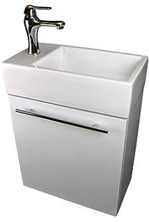 Bathroom Sink White Vanity With Towel Bar, Faucet And Drain Wall Mount  Storage | Renovatoru0027s